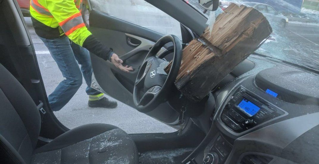 Driver escapes serious injury after guide rail smashes through windshield (PHOTOS)