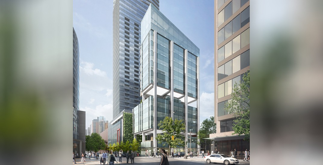 Unique office tower 'on stilts' proposed for corner of Robson and Seymour