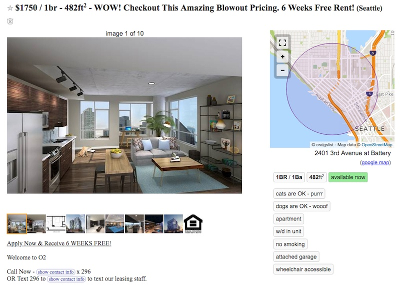 Seattle rental home listings offering $2,000 gift cards and months