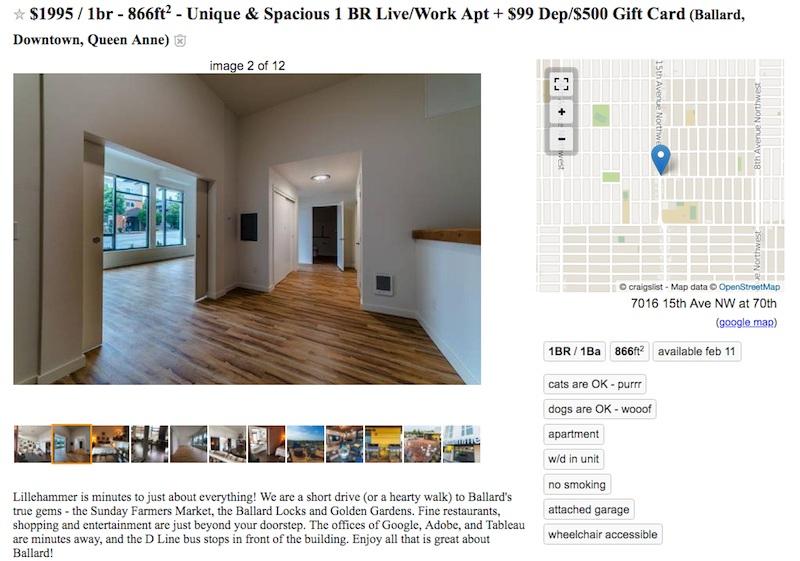 Seattle rental listing Craigslist