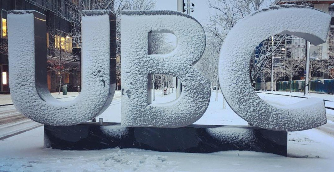UBC, SFU, BCIT announce all classes cancelled today due to snow