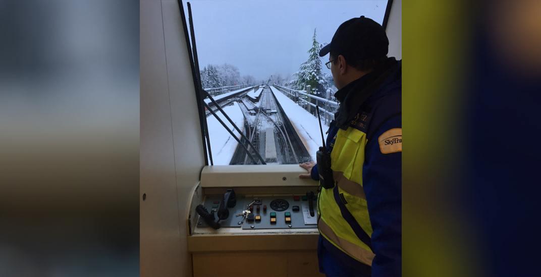 Skytrain manually driven snow