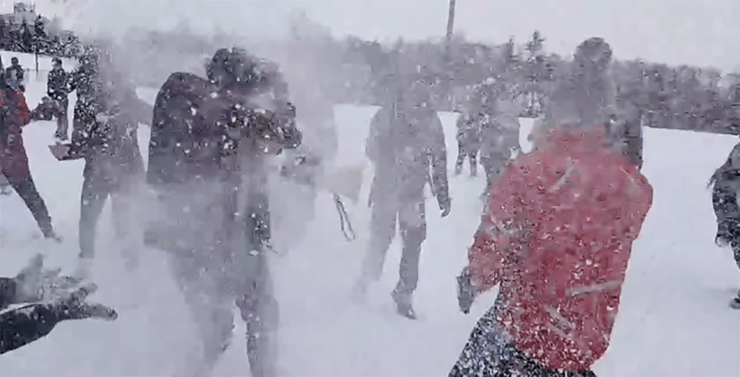 A campus-wide snowball fight is being held at SFU Burnaby today