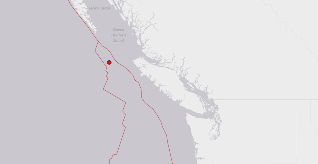 Magnitude 4.1 earthquake detected off the coast of Vancouver Island