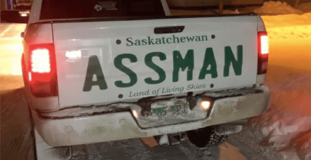 Canadian denied personal licence plate puts giant ASSMAN sticker on tailgate