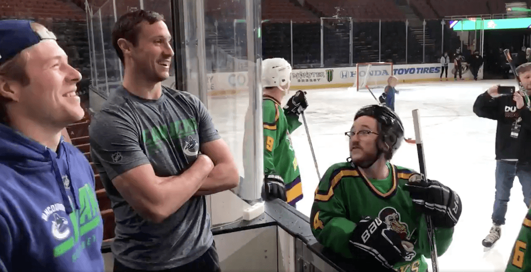 Canucks players meet cast of the Mighty Ducks movie