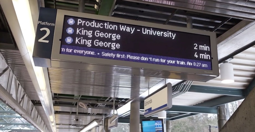 First new real-time next train countdown signs installed at SkyTrain stations