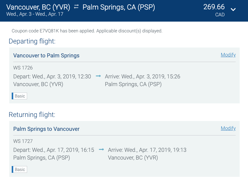 You Can Fly From Vancouver To Palm Springs California For