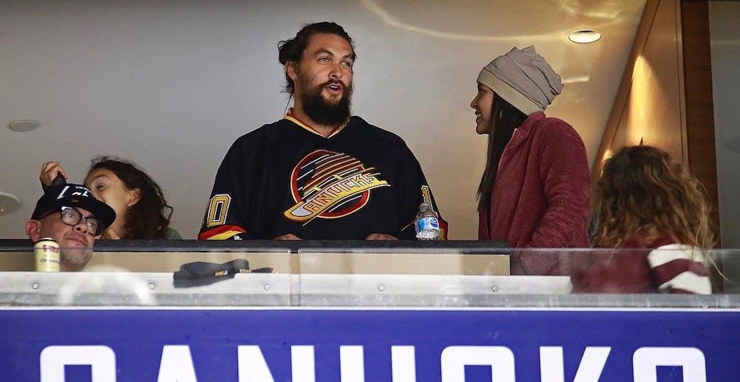 Jason Momoa was just spotted in Vancouver at a Canucks game (VIDEO)