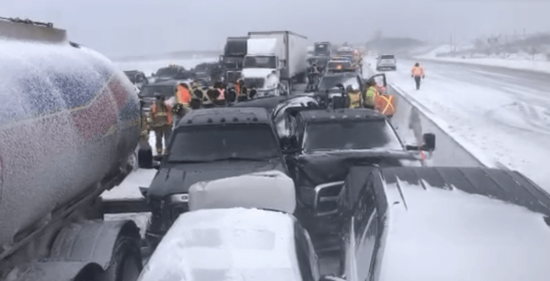 Highway 400 remains closed following 70 vehicle pile-up