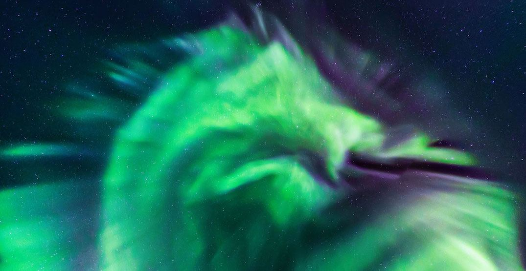 Epic dragon-shaped aurora ignites the sky in Iceland