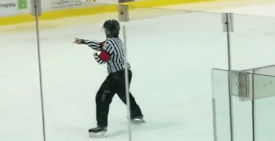 Referee busts dance moves on the ice during hockey game in BC (VIDEO)