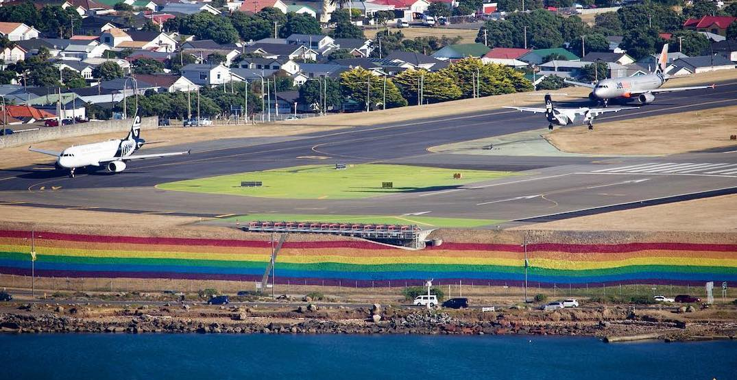 Wellington airport now welcoming visitors with gigantic Pride rainbow