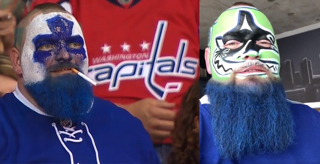 Leafs super-fan 'Dart Guy' honours lost bet with Canucks face paint