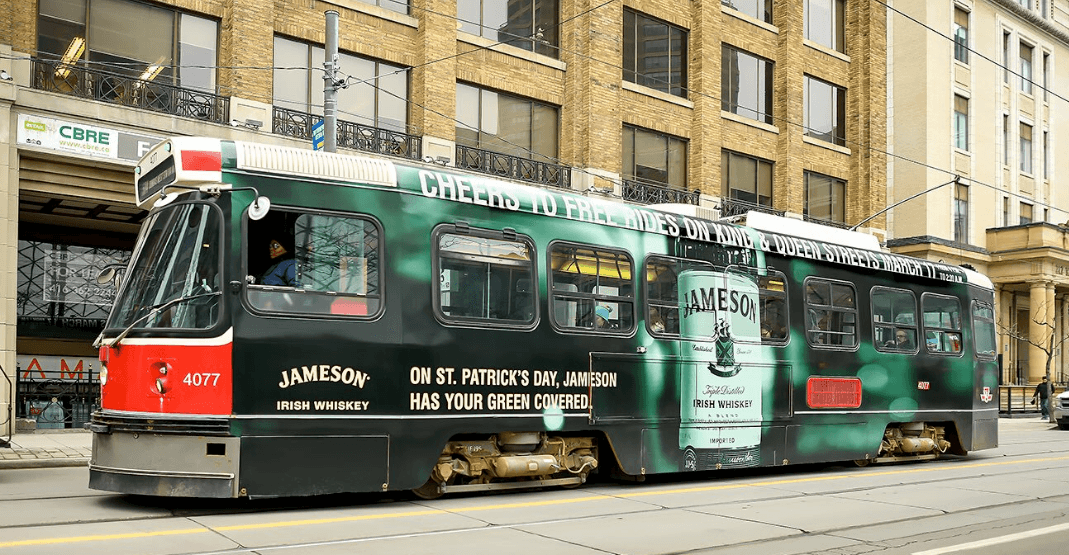 Several TTC streetcars will be FREE on St. Patrick's Day