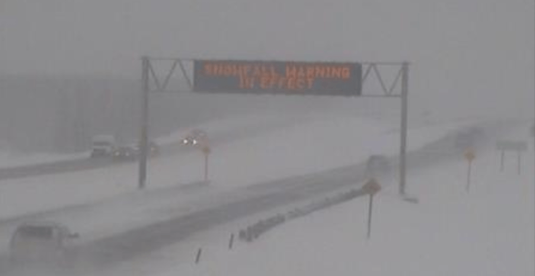 Albertans warned against travelling on Highway 2 due to heavy snow