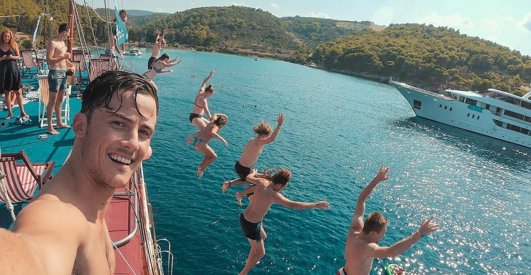 Jumping into the croatian sea. %40busabout.officialinstagram