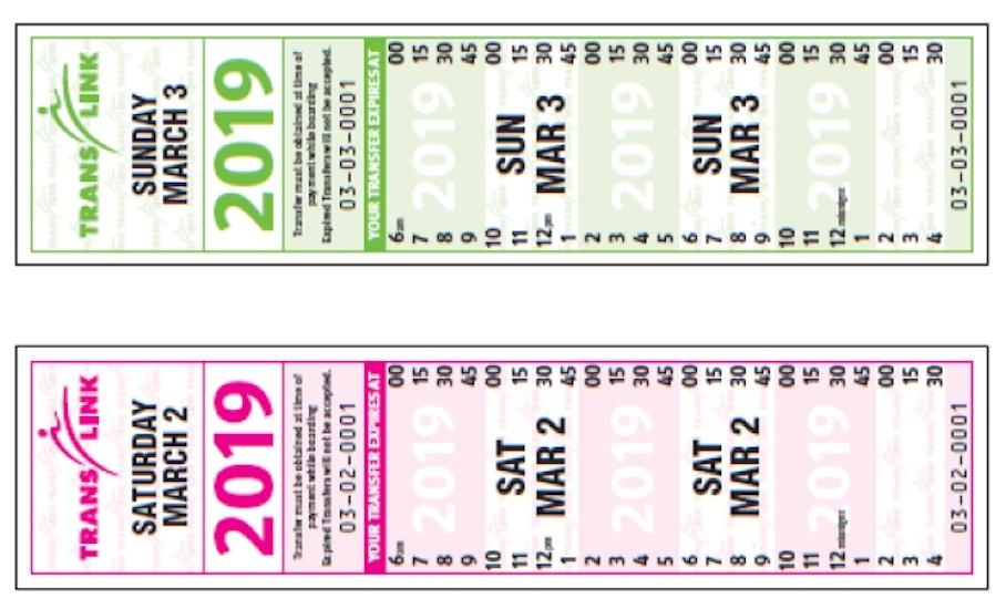 TransLink community shuttle paper transfer ticket