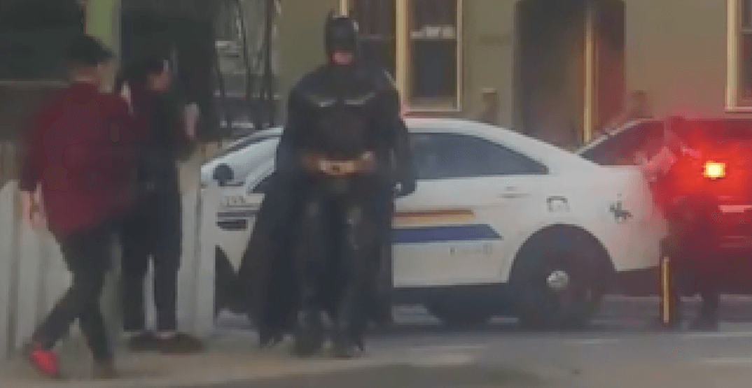 Batman shows up at BC police incident, gets rejected by officers (VIDEO)