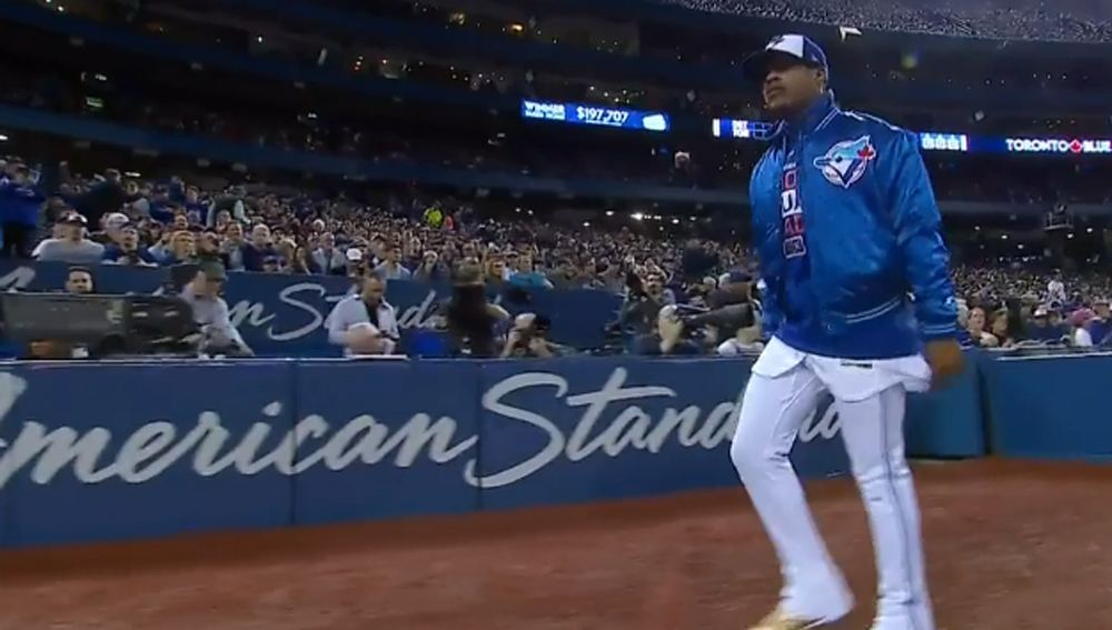 Marcus Stroman wore a retro Blue Jays jacket on Opening Day