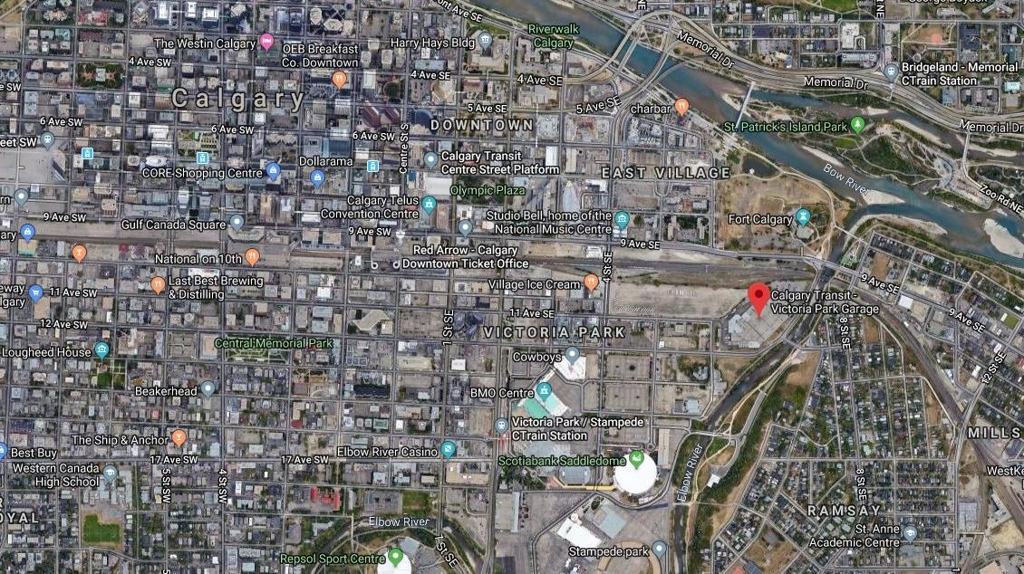 Calgary Victoria Park Transit Garage. (Google Maps)