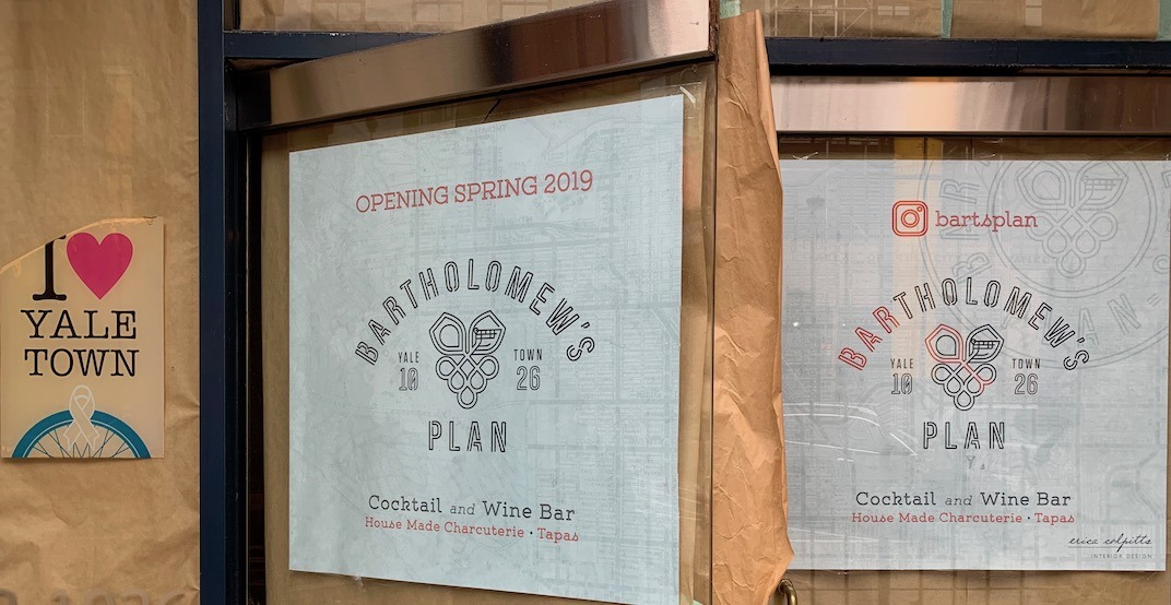 Vancouver's new cocktail and charcuterie bar 'Bartholomew's Plan' to open this spring