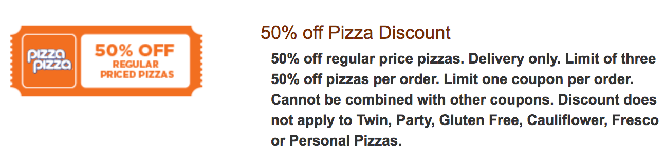 Pizza Pizza 50% off