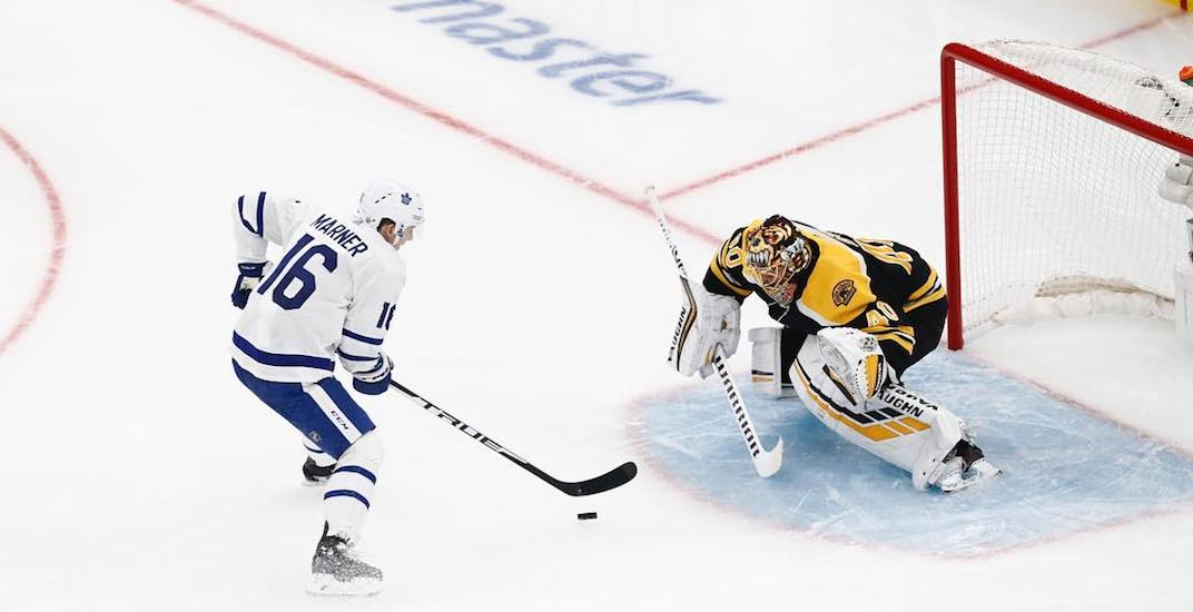 Marner's penalty shot goal lifts Leafs past Bruins in Game 1