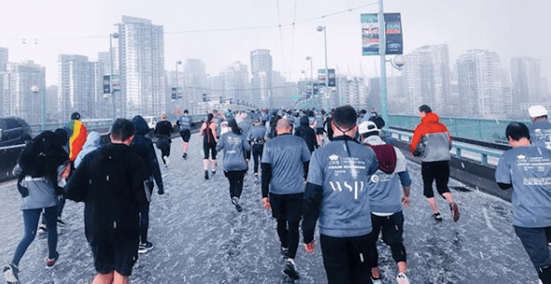 Vancouver Sun Run participants pelted with hail in freak downtown storm