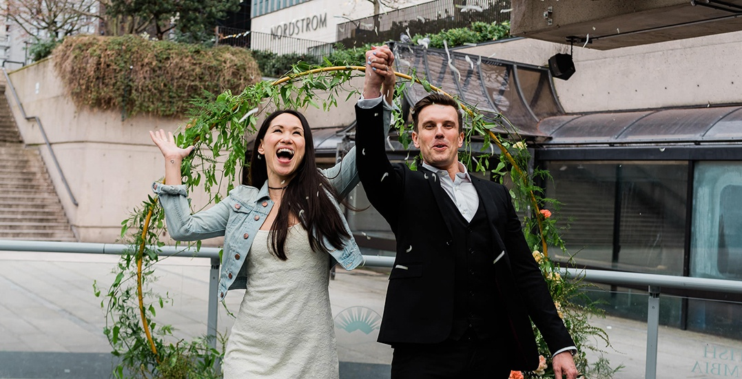 20 romantic photos of Robson Square's pop-up wedding