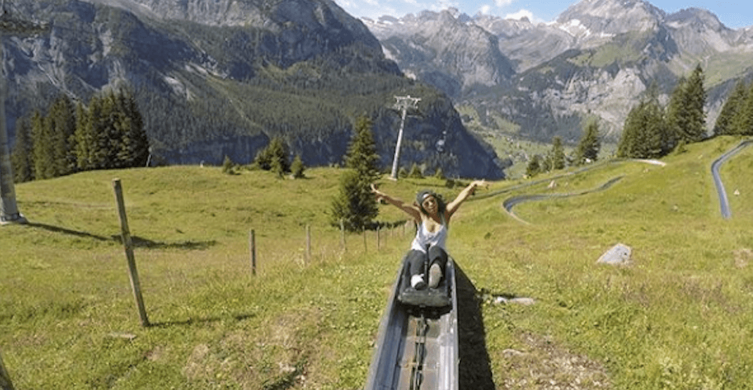 Slide through the mountains in Switzerland with this massive outdoor slide