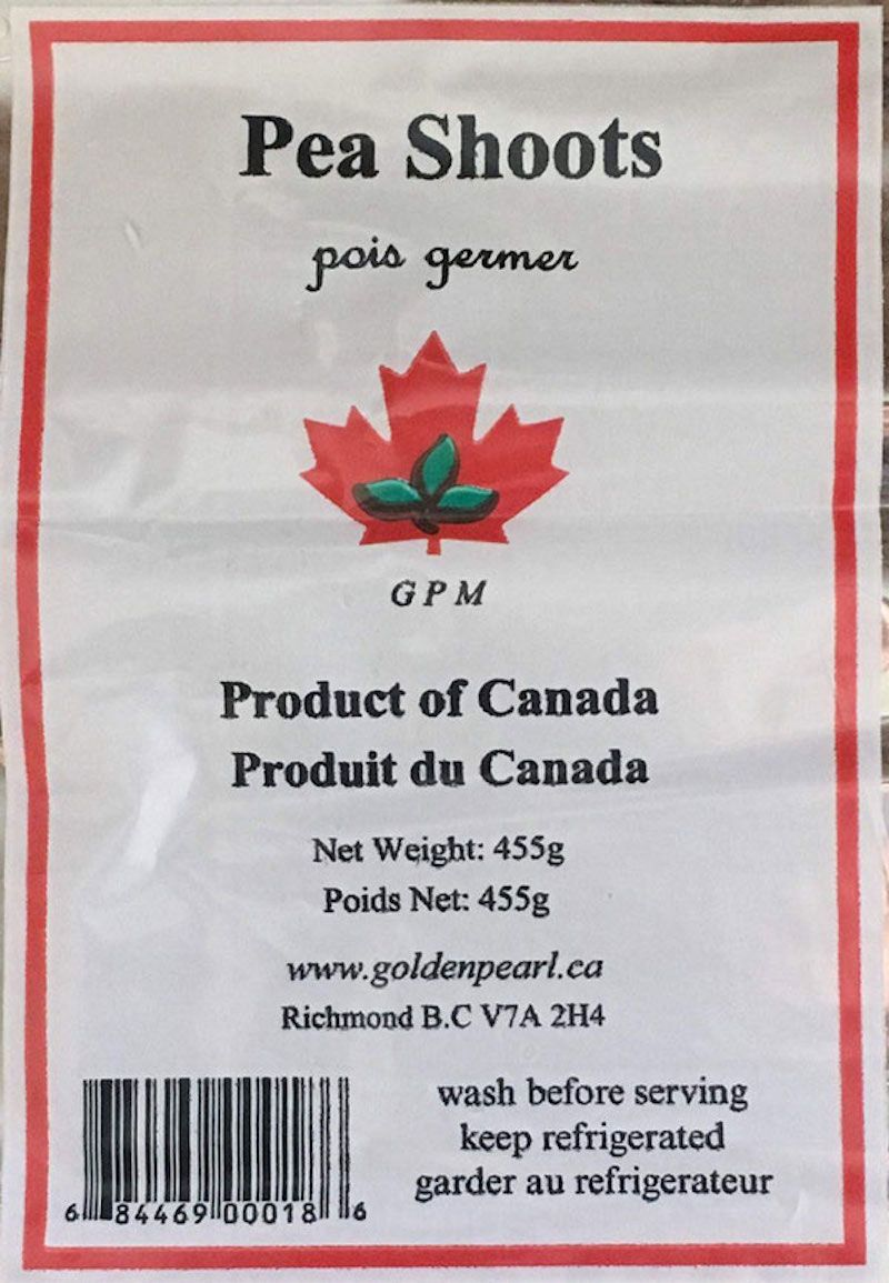 GPM brand Pea Shoots Listeria