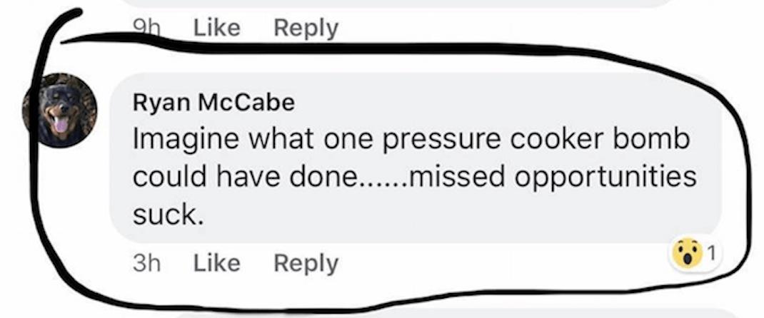 A screenshot capturing the concerning comment made (Harman Bhangu/Facebook)