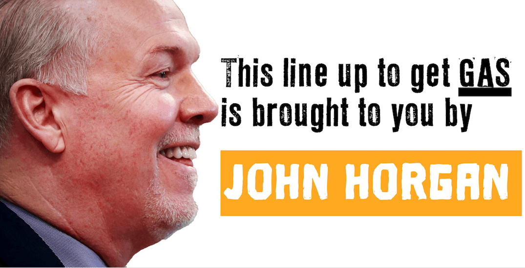The BC Liberals have put up billboards blaming John Horgan for high gas prices