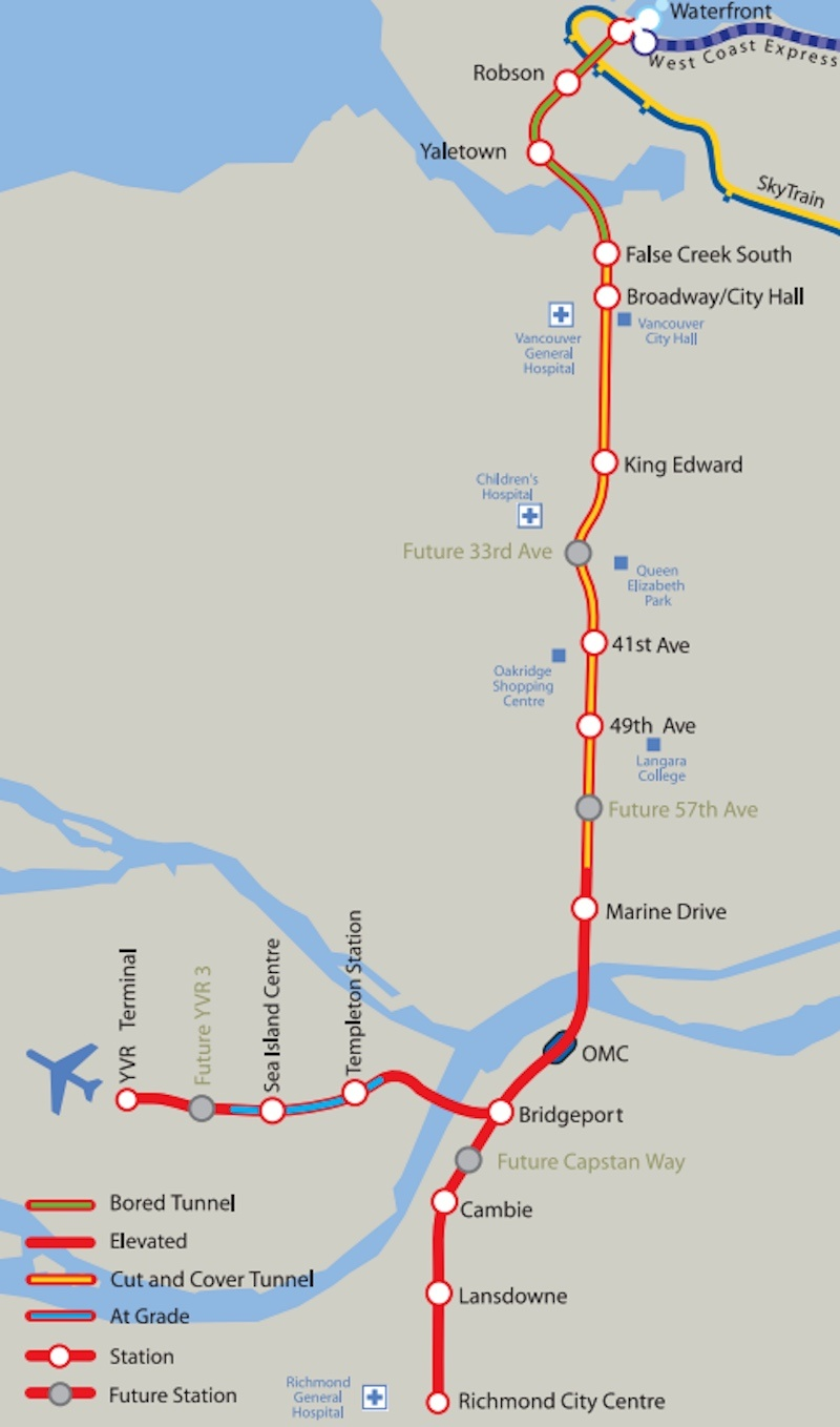 Map Of Canada Line Vancouver.Richmond Successfully Raises 32 Million To Build Canada Line S New