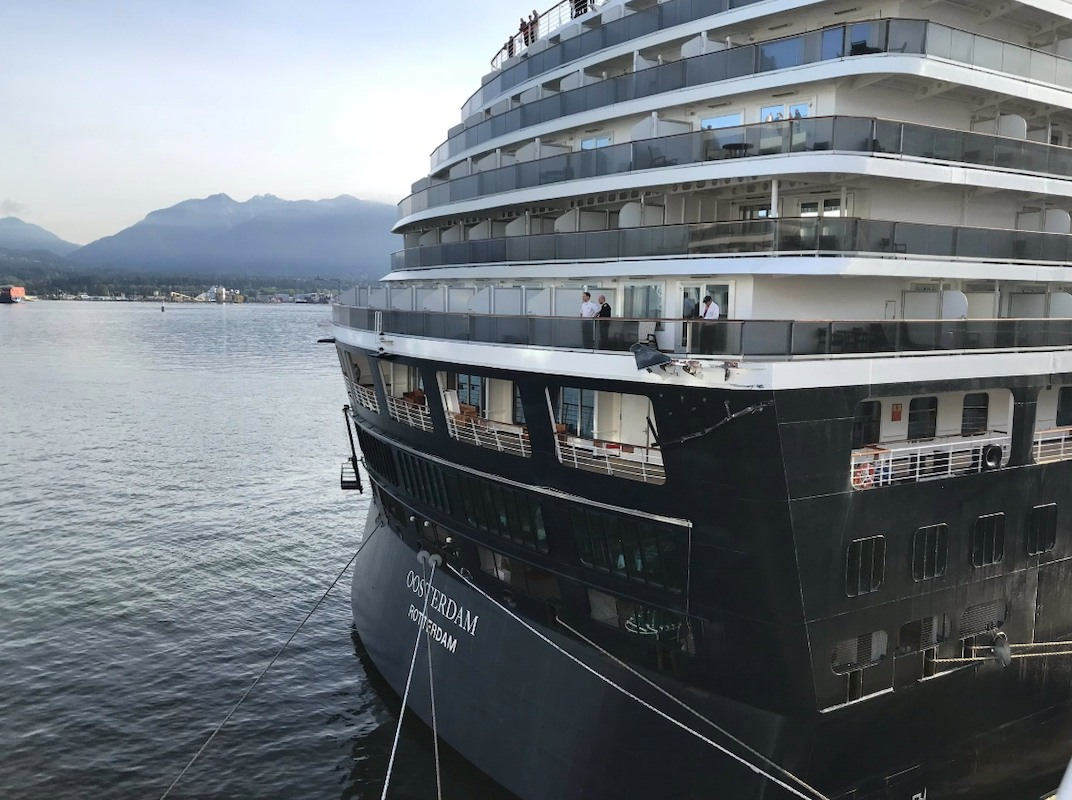 Damage incurred by the collision between Holland America's Nieuw Amsterdam and the Oosterdam at Vancouver's Canada Place on May 4, 2019. (Ken Carrusca / Twitter)