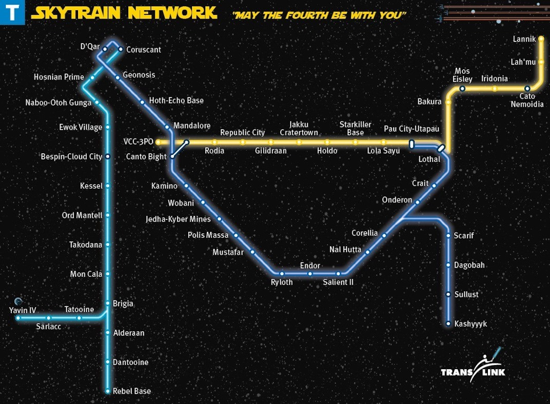TransLink's May The Fourth Be With You' Star Wars SkyTrain map. (Kenneth Chan / Daily Hive)