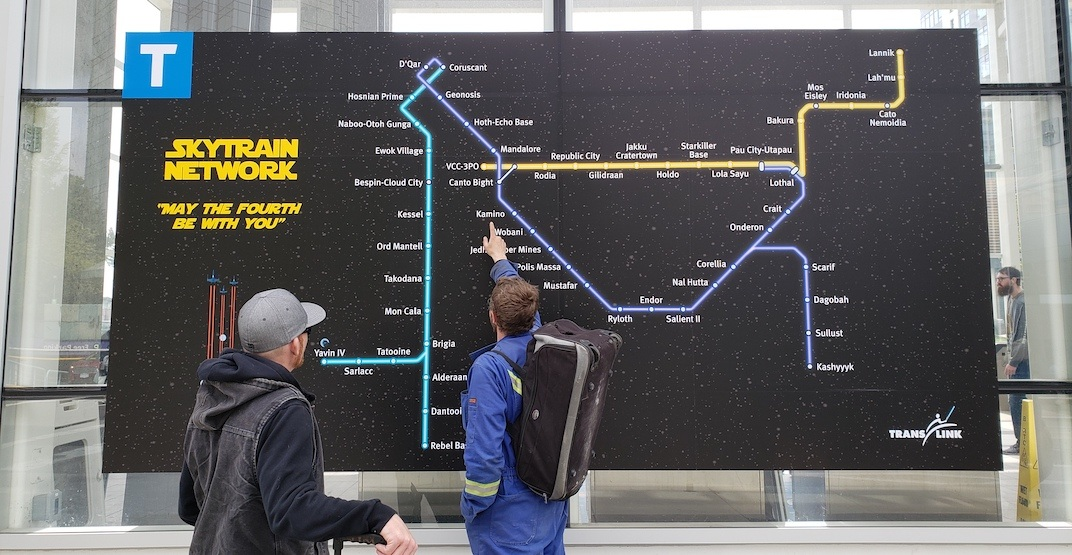 TransLink gives SkyTrain map an epic Star Wars makeover (PHOTOS, MAP)