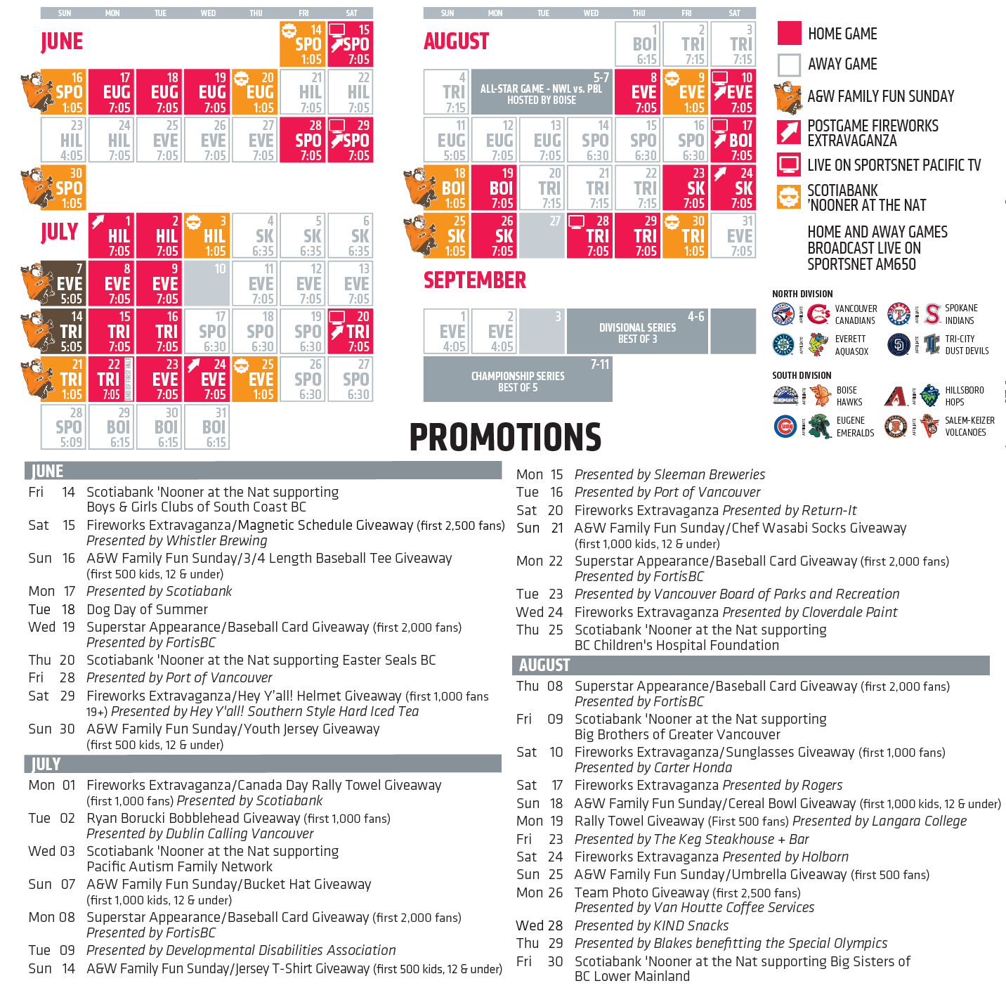 Vancouver Canadians promo schedule