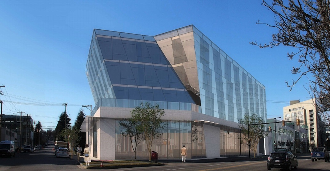 Angular-shaped tech office building with green roof proposed near Olympic Village