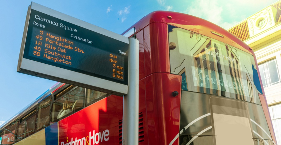 bus digital signage Brighton England