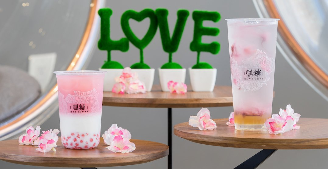 Sakura milk tea is a thing and it's in Toronto right now