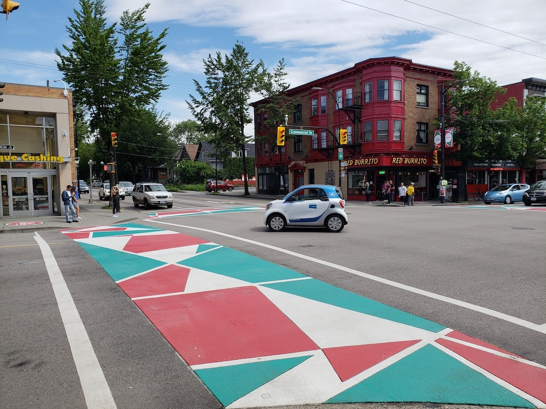 Italian flag Little Italy Vancouver crosswalk