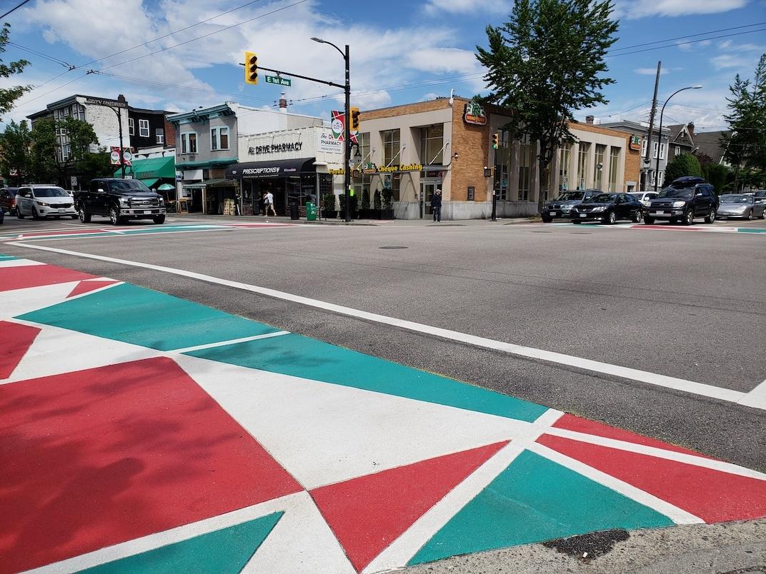 Italian flag Little Italy Vancouver crosswalk