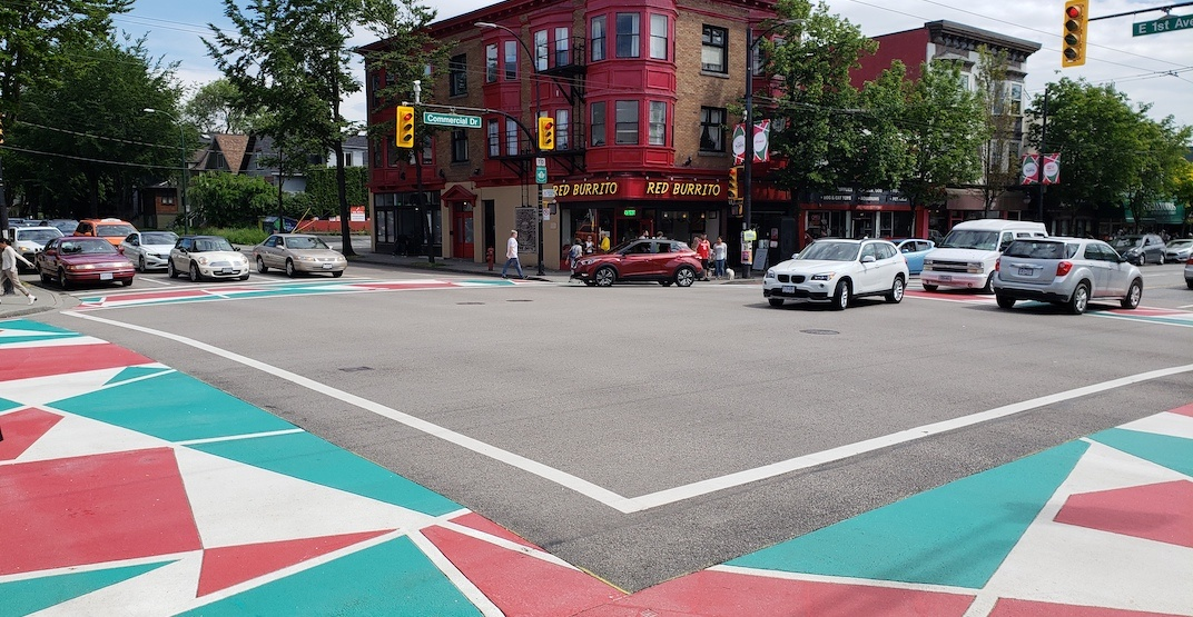 Italian flag-coloured crosswalks painted on Commercial Drive intersections (PHOTOS)