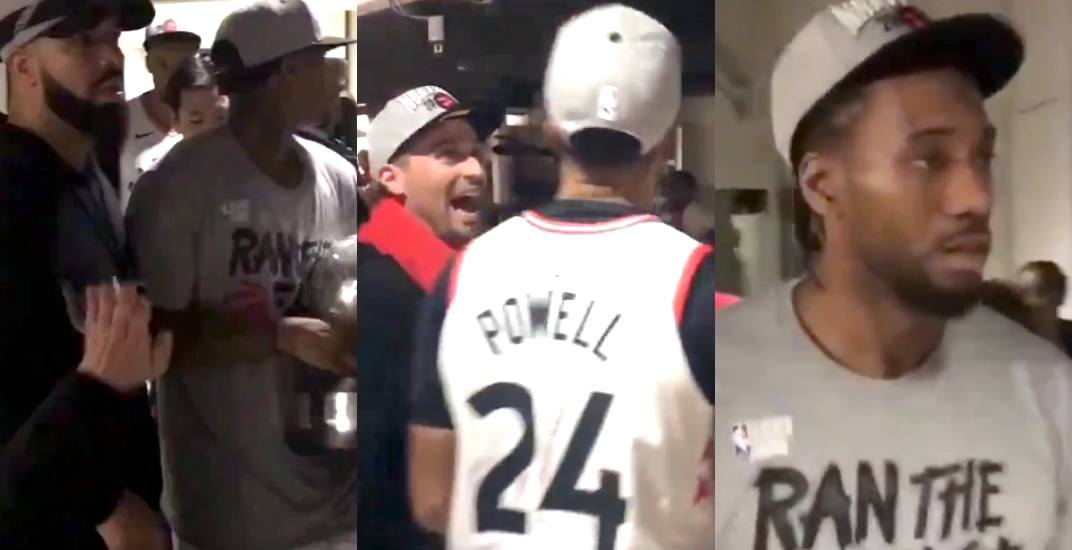 NBA Finals-bound Raptors players celebrate with fans on arena concourse (VIDEO)