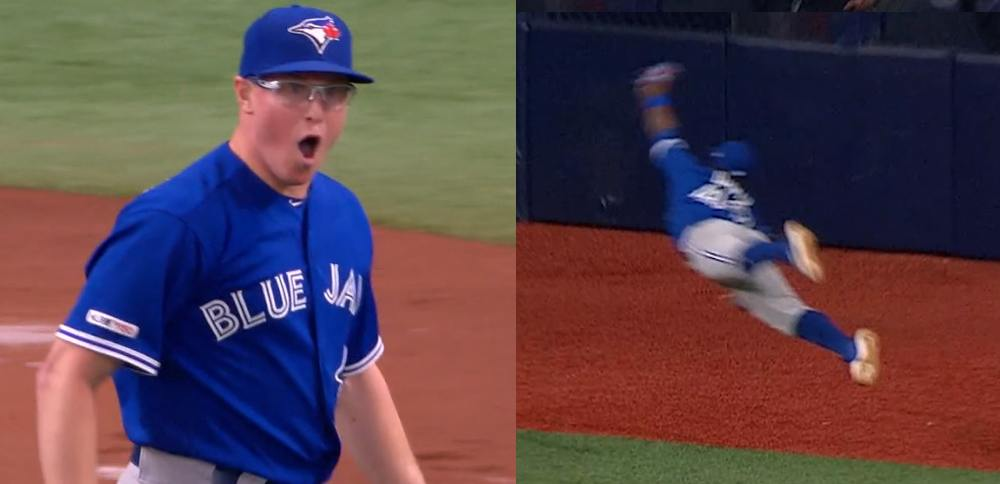 Blue Jays' Jonathan Davis goes airborne for amazing catch (VIDEO)