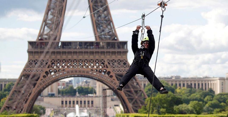 Eiffel Tower zip line offers stunning views at 90 km/h