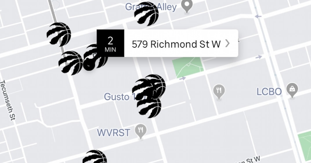 Uber has changed all of its cars into Raptors logos on its app