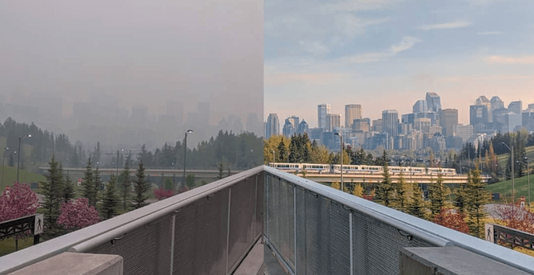 Here's Calgary before and after the smokey haze (PHOTOS)
